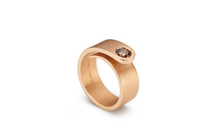 Niessing Solitaire Loop - Rose Gold & Cognac colored Diamond