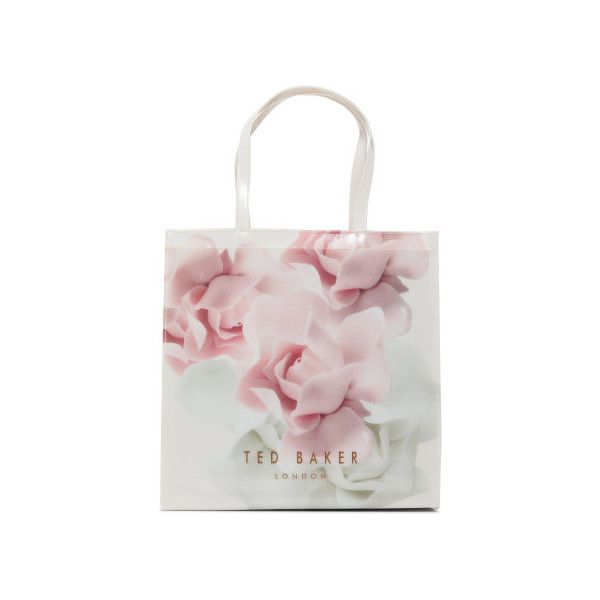 Ted Baker Kyracon Porcelain Large Icon Bag (100 CAD) ❤ liked on Polyvore featuring bags, handbags, 5319-109470, nude pink, shopping bag, ted baker shopper, shopper handbags, white bag and pink shopping bag