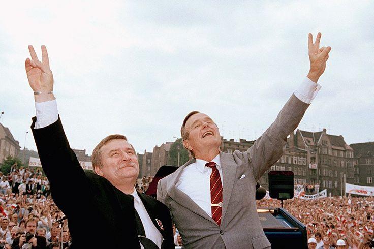 George HW Bush and Lech Wałęsa, July 11, 1989