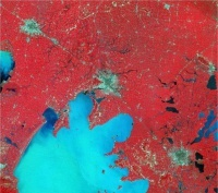 1984 Satellite Image, Shanghai China, United Nations #6 Urban Agglomeration on the Planet, 1984.  Red is vegetation, gray is densely inhabited areas.