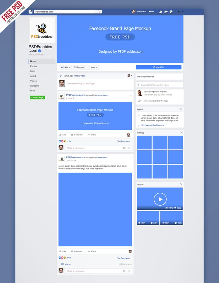 New Facebook Mockup Fan-page Free Template