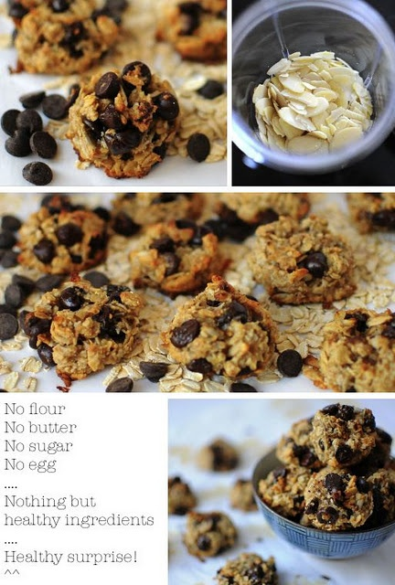 Healthy cookies: {no flour, butter, sugar, or eggs}