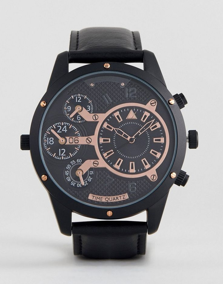 ASOS Oversized Watch In Black And Rose Gold With Subdials - Black