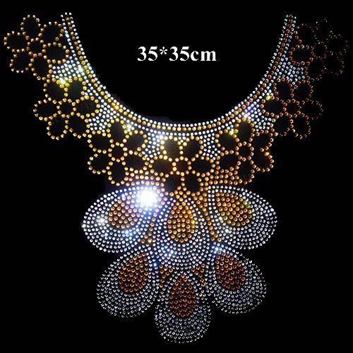 Fancy design hotfix rhinestone for neckline iron on crystal transfers design hot fix rhinestone motif iron on rhinestone motifs
