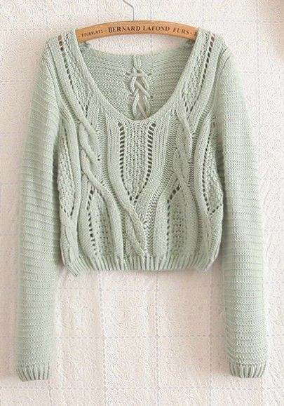 Love...Love...Love this color! BEAUTIFUL Mint Green Plain Hollow-out Long Sleeve Wool Blend Sweater