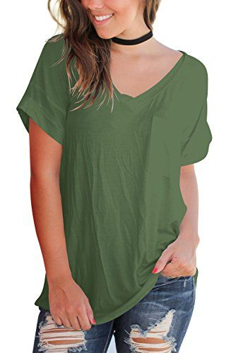 94040acd279 NEW Women plus size - FAVALIVE Womens Tops Short Sleeve Cotton Tees Casual  V Neck T Shirts Plus Size Army Green XXL Lowest Price