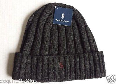 #POLO Ralph Lauren beanie style wool hat dark gray with dark red logo NWT RalphLauren visit our ebay store at  http://stores.ebay.com/esquirestore