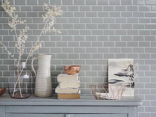 Subway Tile 2×4 Glossy Grey Beveled