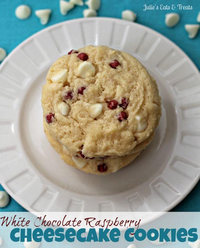 White Chocolate Raspberry Cheesecake Cookies ~ Copycat Subway cookies but even better! via www.julieseatsandtreats.com