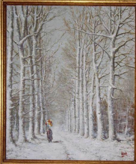 Día de nevada en el Campo Grande de Valladolid, óleo sobre lienzo