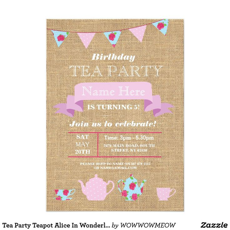 Tea Party Teapot Alice In Wonderland Burlap Invite Elegant Rustic Tea Party Burlap Design. Perfect for any age birthday. Simply change the text to suit your party. Back print included.