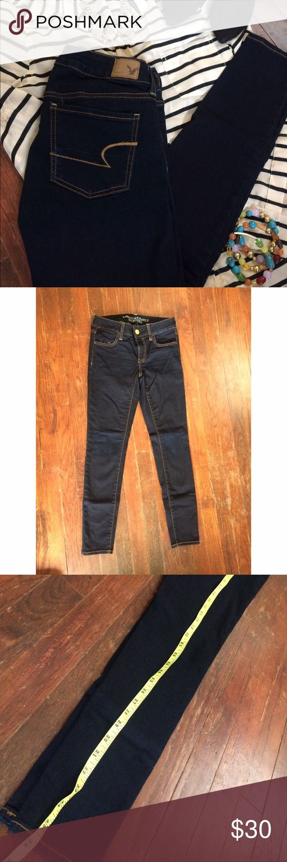 American Eagle Outfitters Jeans Like new, super stretch jeggings. Dark wash. A must have for every closet.   +unable to model  +10% off bundles of 2 or more +reasonable offers welcome +ships within 24 hours  +no trades American Eagle Outfitters Jeans Skinny