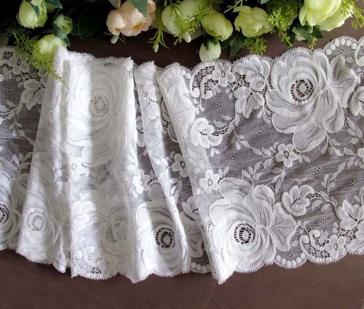 23.5 cm width Elegant Snow White Stretch Lace Trim in Crafts, Sewing, Embelishments & Finishes   eBay!
