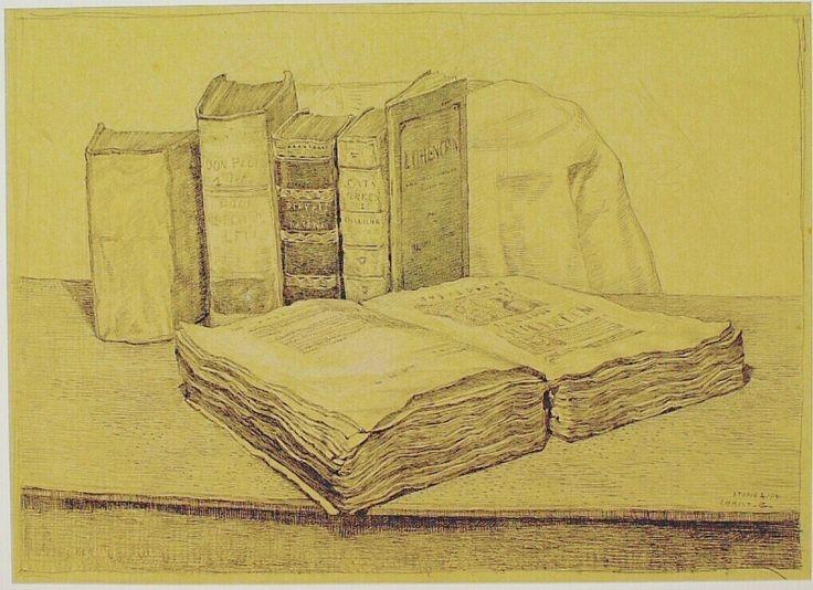 Stilleven van boeken, Chris Beekman, 1914.