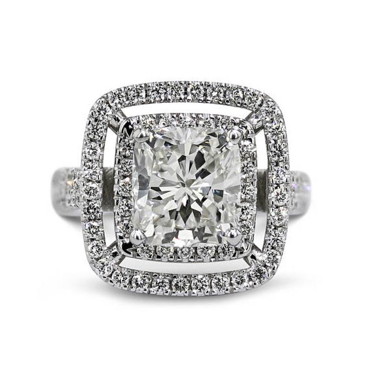 3.00 Ct Cushion Diamond Solitaire 14K White Gold Engagement Rings Size 4 5 6 7 8 #Caratforever #SolitairewithAccents