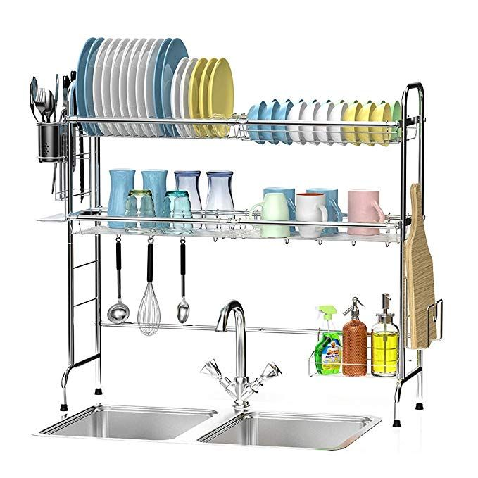 Over The Sink Dish Drying Rack Ace Teah 2 Tier Large Capacity Stainless Steel Dish Rack Over Sink With Utensil Hold Sink Dish Rack Dish Rack Drying Dish Racks