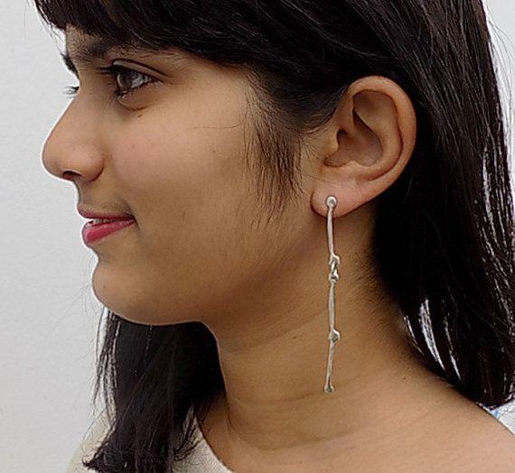 silver dangle earringslong earringsfor herfor teens. by atermono