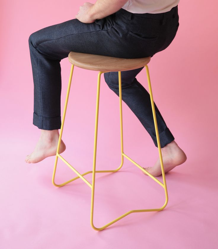 HOPA YLW bar stool  American Oak seat on lemon yellow steel frame  Made in Melbourne