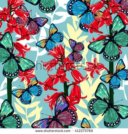Seamless pattern with bluebells and flying butterflies, hand drawing. Vector illustration