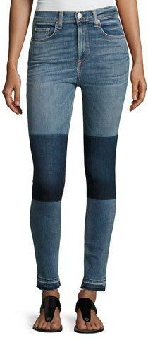 Rag & Bone Dive High-Rise Colorblock Capri Jeans, Indigo