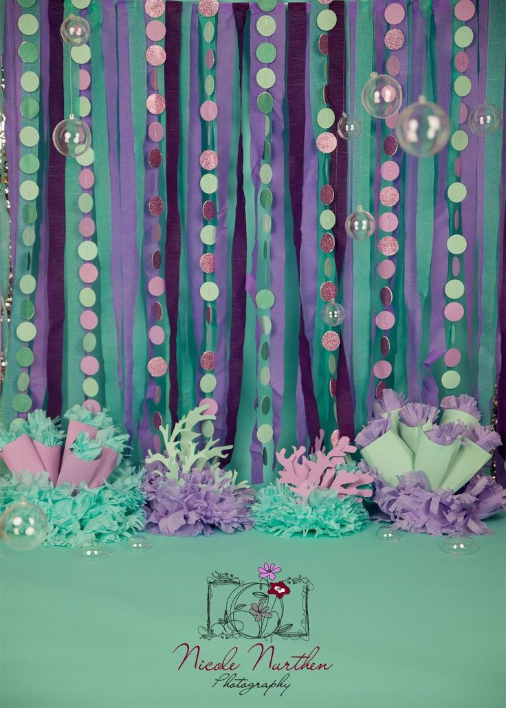 Mermaid backdrop ansuzelle little mermaid party for Party backdrop ideas