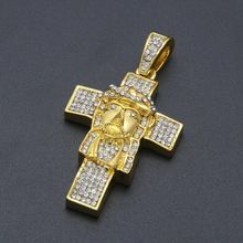 New Coming Full Rhinestone Cross Jesus Head Pendant Necklace Yellow Gold Plated Trend Christian Jesus Necklace for Men Women //Price: $US $18.99 & FREE Shipping // #hashtag2