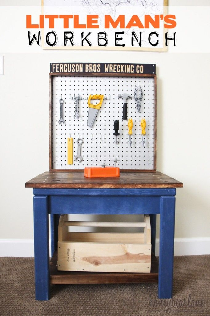 Make a kids workbench from an old table!  I love this!! www.honeybearlane.com
