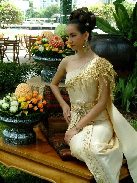 Cream Thai dress...not too crazy about the stuff on the shoulder...but overall style is nice