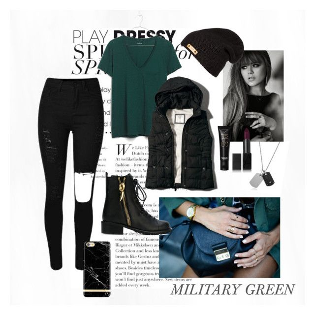 """""""Military Green"""" by eiram-schultz on Polyvore featuring Emporio Armani, Madewell, Abercrombie & Fitch, NARS Cosmetics and Giuseppe Zanotti"""