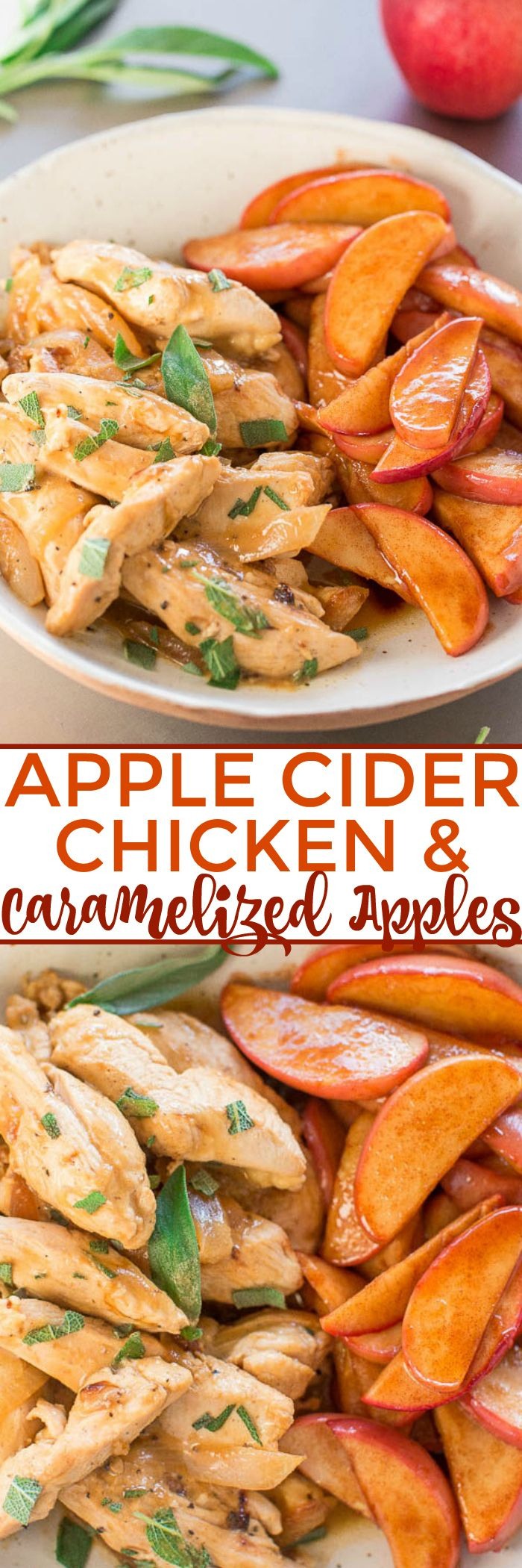 Apple Cider Chicken with Caramelized Apples - The flavors of FALL in an EASY dish ready in 30 MINUTES!! Chicken simmered in apple cider and Dijon is so rich-tasting along with juicy, caramely apples!!