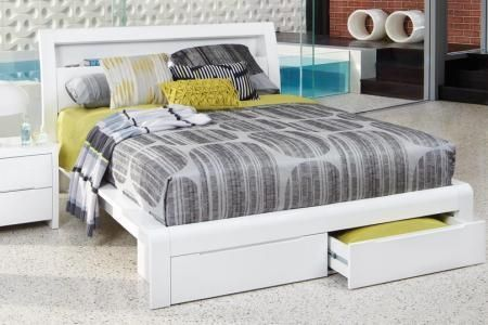 Benton White Double High Gloss Bed
