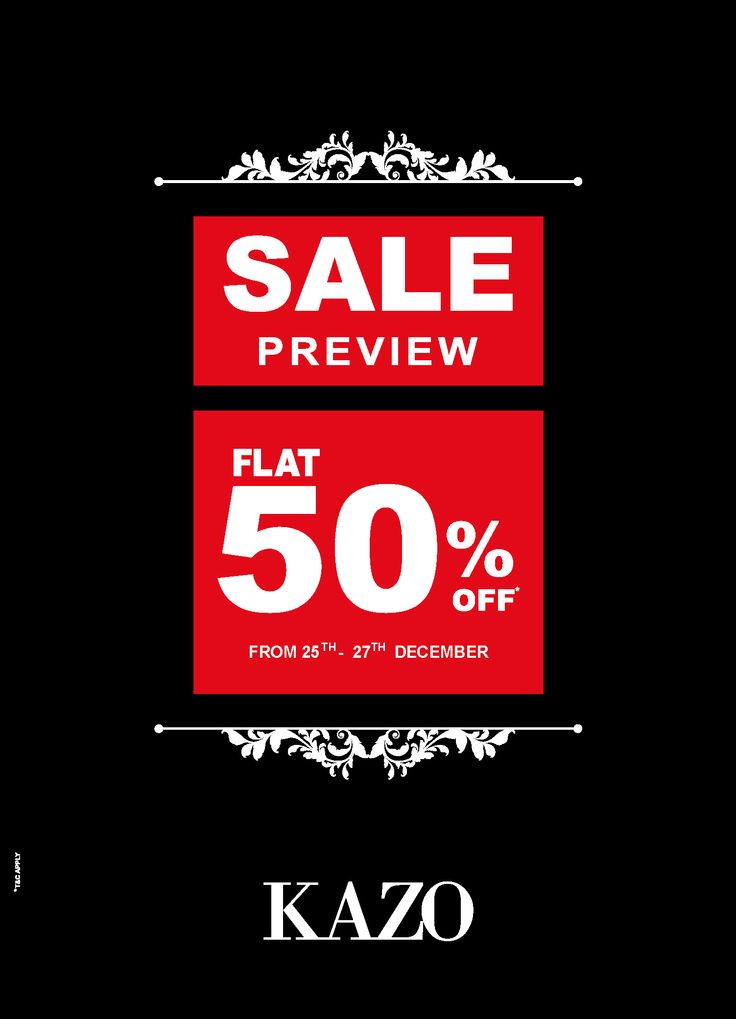 KAZO's SPECIAL SALE PREVIEW! Flat 50% off, from 25th - 27th Dec'15. Fashionistas, rush to your nearest KAZO stores and leading MBO's.