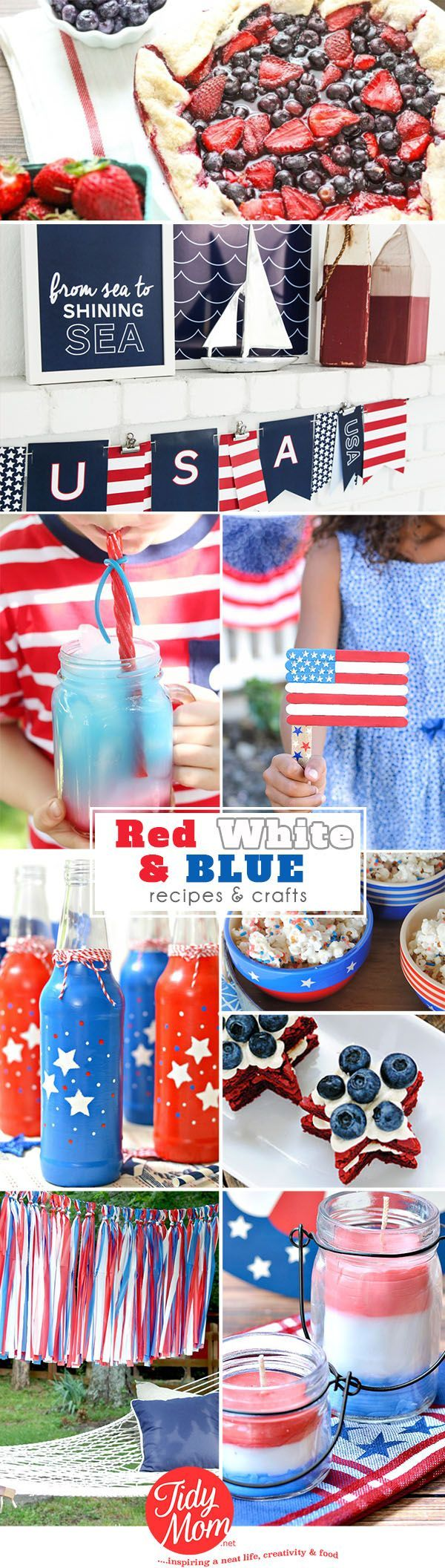 incredible Red White and Blue Ideas for patriotic decorating, crafting and eating! Pair these ideas with a hot grill and sparklers and there's no excuse not to celebrate America's birthday in style!  Details at TidyMom.net