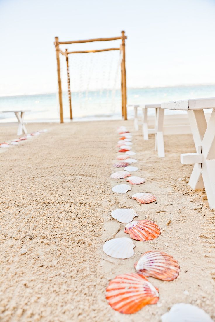 Beach wedding - seashells along the aisle