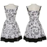 ROMEO & JULIET COUTURE Floral Embroidered Cotton Dress, Small, White/Black, RJRV061206 (Apparel)By Romeo & Juliet Couture