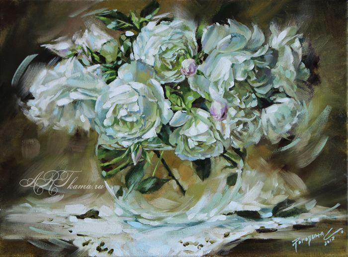 Белые розочки. Цветы №010.
