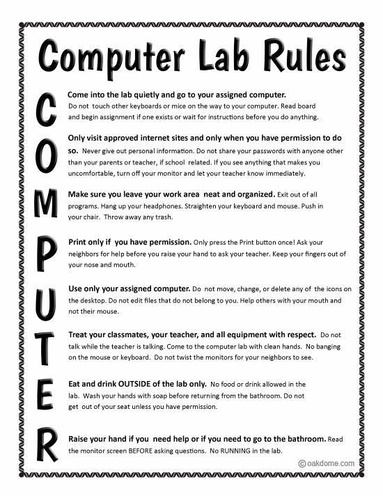 Computer Lab Rules-also have these in various color schemes