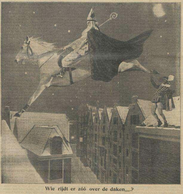 Sinterklaas en Pieterbaas, kranten illustratie uit 1926