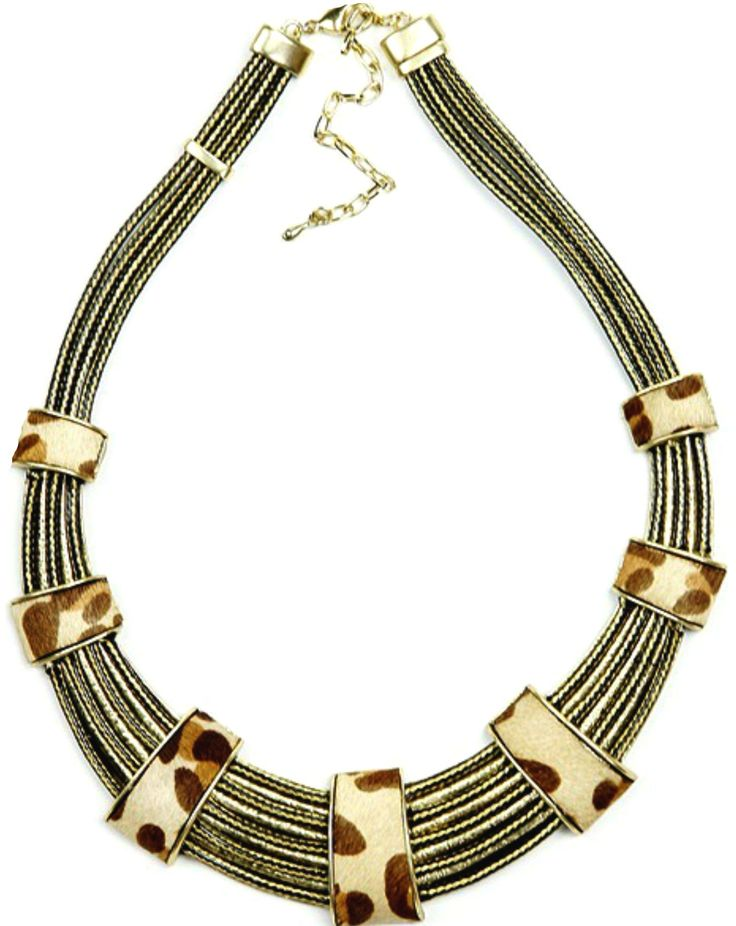 Out of Africa - Leopard necklace.  Mix things up with this versatile but energetic animal print necklace. The multi-strand design features a nature-inspired palette that pops against checks, tweeds and other traditional patterns, and adds a global touch to office wear. http://www.byariane.com.au/Sistaco-Out-Africa