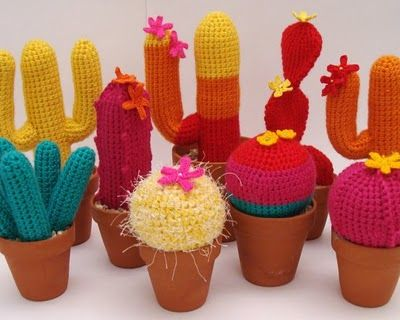 Crocheted colourful cacti