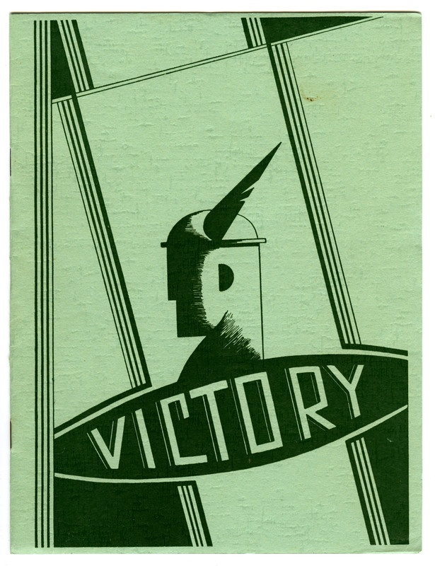 Booklet cover of 'Victory', published by Colonial Ammunition Co. Ltd. Auckland, New Zealand, 1940.