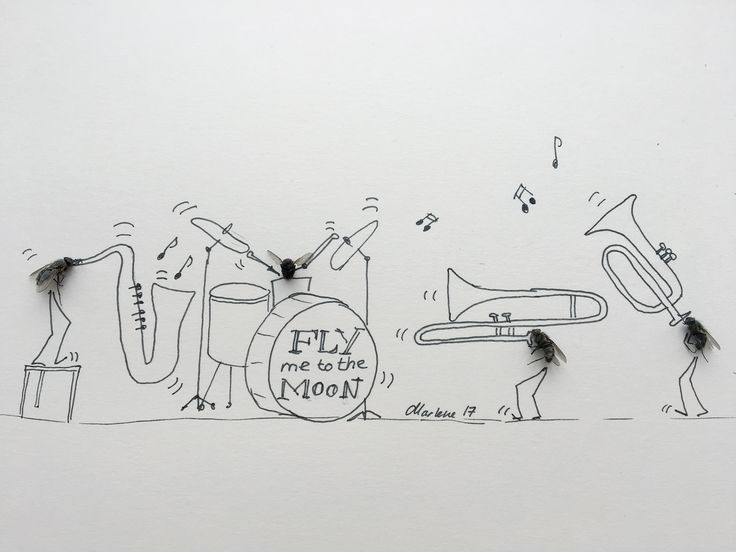 Musical #insects. Fly me to the moon #drawing #Jazz #inkdrawing #artwork
