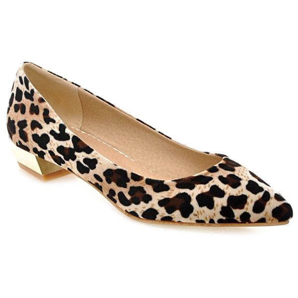 Leopard Print Suede Pointed Toe Flat Shoes (120 RON) ❤ liked on Polyvore featuring shoes, flats, flat shoes, pointed-toe leopard flats, flat pointy toe shoes, suede flats and flat pumps