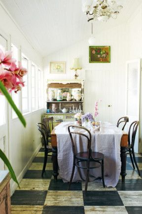 Country Style. photography Prue Ruscoe, styling Shannon Fricke. #bentwood #thonet #chequerboard #checkerboard floor