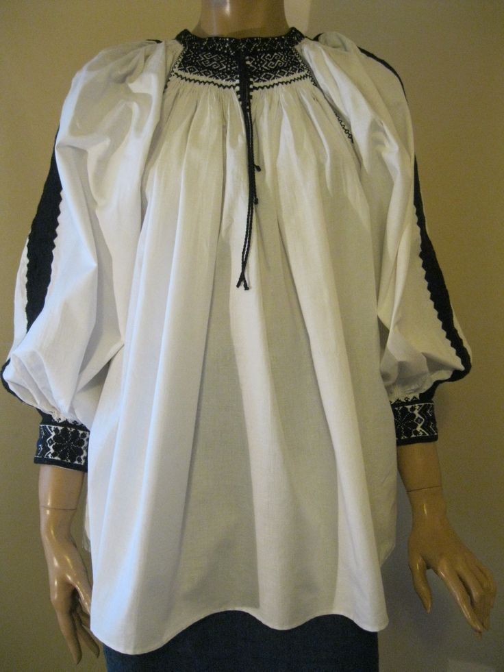 Vintage Romanian traditional blouse top from Transylvania - size M /L at www.greatblouses.com