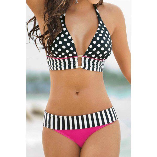 $16.71 Sexy Halter Polka Dot Spliced Women's Bikini Set
