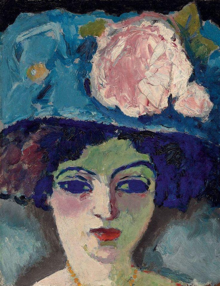 Kees Van Dongen (1877-1968) - Femme au chapeau fleuri (1905) - oil on board, 18 1/3 x 14¾ in. (47.5 x 37.5 cm.)