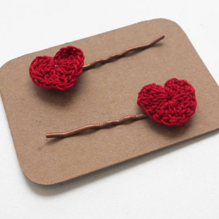 crochet heart hair pins Valentines Day Pinterest