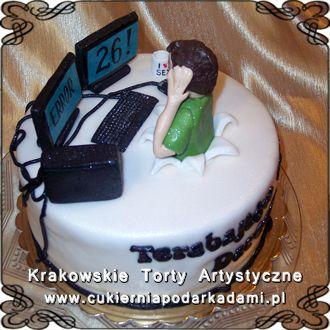059. Tort dla informatyka z monitorem na urodziny. Cake for IT specialist with computer monitor.