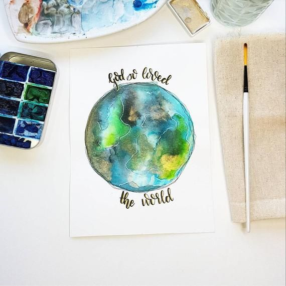 Earth Watercolour God So Loved The World Watercolor Christian